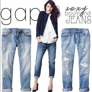 Gap Sexy Boyfriend low rise destroyed denim jeans
